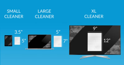 iCloth screen cleaning wipes come in 3 sizes